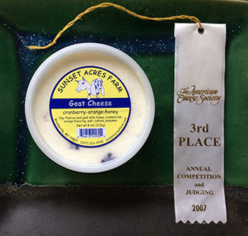 Orange Crandberry Honey chevre - American Cheese Society award winner